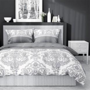 Sivo-biela posteľná obliečka zo saténovej bavlny s krásnym vzorom