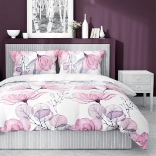 Bielo-ružová posteľná obliečka zo saténovej bavlny s kvetinovým motívom