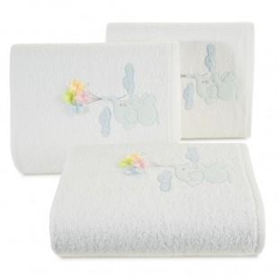 Biely detský bavlnený ručník so sloníkom