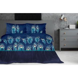 Exkluzívna modrá posteľná obliečka z bavlneného saténu s motívom pávich pierok