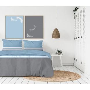 Exkluzívna sivo-modrá posteľná obliečka z bavlneného saténu s pásikmi