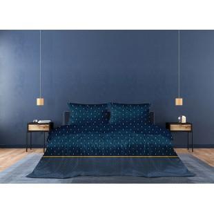 Exkluzívna modrá posteľná obliečka z bavlneného saténu so zlatým vzorom