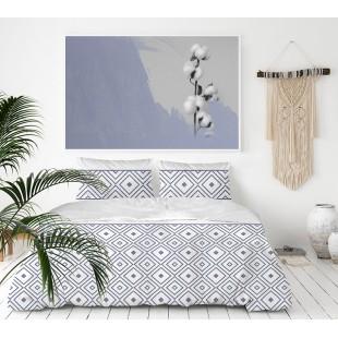 Exkluzívna sivo-modrá posteľná obliečka z bavlneného saténu so vzorom