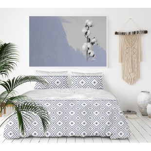 Exkluzívna sivo-modrá posteľná obliečka zo saténovej bavlny so vzorom
