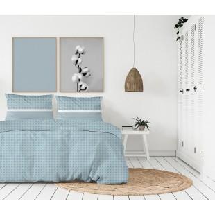 Exkluzívna modrá posteľná obliečka z bavlneného saténu so vzorom