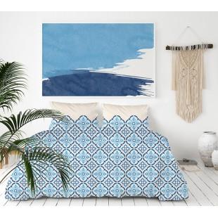 Exkluzívna bielo-modrá posteľná obliečka z bavlneného saténu s krásnym motívom
