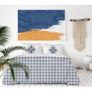 Exkluzívna biela posteľná obliečka z bavlneného saténu s modro-medovým vzorom