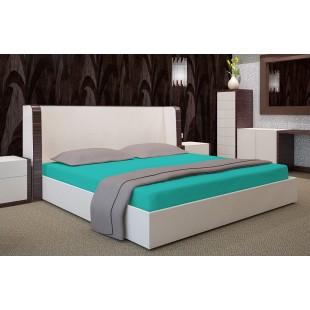 Tyrkysová posteľná plachta zo saténovej bavlny s napínacou gumičkou