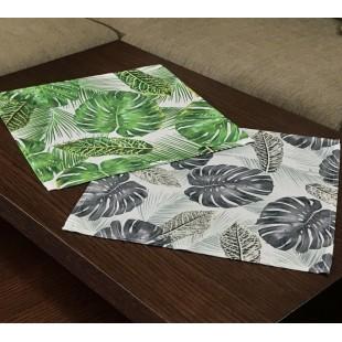 Sivý dekoračný obrus s rastlinným motívom 40x40