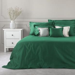 Zelený dekoračný prehoz zo saténovej bavlny