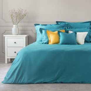 Tyrkysový dekoračný prehoz na posteľ zo saténovej bavlny