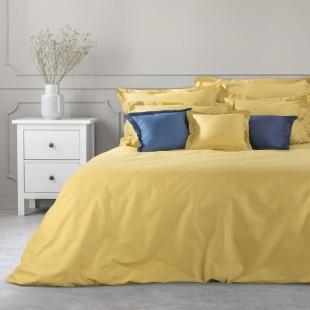 Žltý dekoračný prehoz na posteľ zo saténovej bavlny