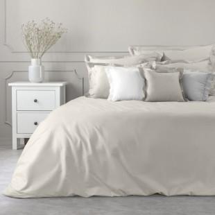 Béžový dekoračný prehoz na posteľ zo saténovej bavlny