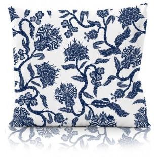 Modro-biela vzorovaná obliečka na dekoračný vankúš