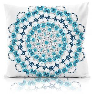 Modro-biela obliečka na dekoračný vankúš so vzorom