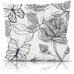 Bielo-čierna kvetinová obliečka na dekoračný vankúš
