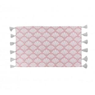 Ružový tkaný vzorovaný koberček s brmbolčekmi