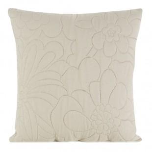 Krémová dekoračná obliečka na vankúš s kvetinovým motívom