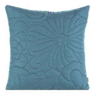 Modrá obliečka na dekoračný vankúš s kvetinovým motívom
