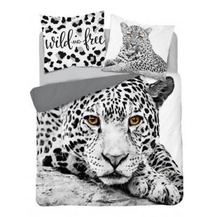 Biela bavlnená posteľná obliečka s motívom tigra