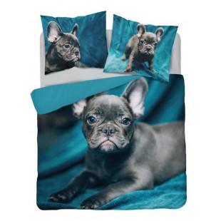 Tyrkysová bavlnená posteľná obliečka s motívom psíka