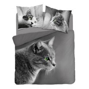 Sivá obojstranná bavlnená posteľná obliečka s motívom mačiatka