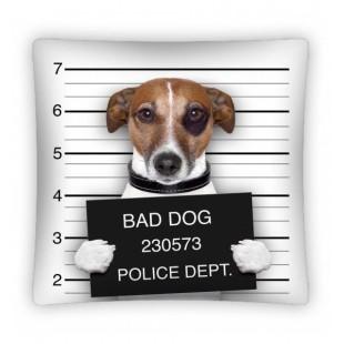 Bielo čierna obliečka na vankúšik BAD DOG