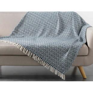 Modro-biela vzorovaná deka so strapčekmi