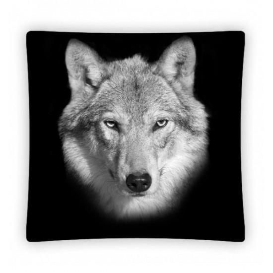 Čierna návliečka na vankúš s vlkom