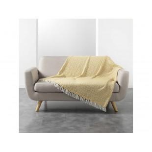 Žlto-biela vzorovaná deka so strapčekmi