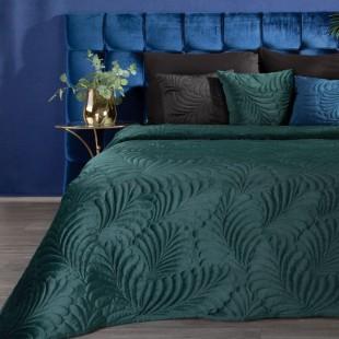Tmavotyrkysový zamatový prehoz na posteľ so vzorom