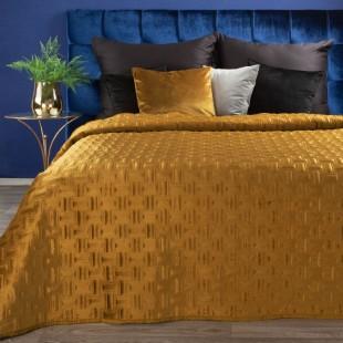 Jemný žltý zamatový prehoz na posteľ so vzorom