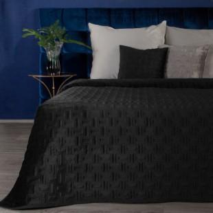 Jemný čierny zamatový prehoz na posteľ so vzorom