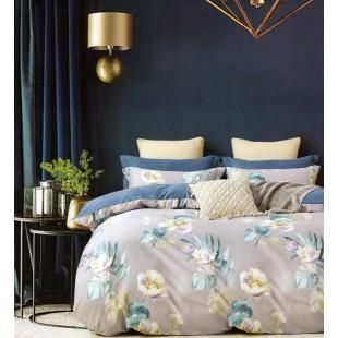 Sivo-modrá obojstranná posteľná obliečka zo saténovej bavlny s kvetinovým motívom