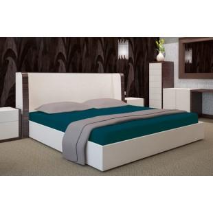 Bavlnená posteľná plachta tmavotyrkysovej farby s gumičkou