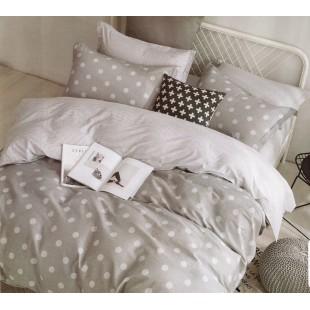 Sivá posteľná obliečka zo saténovej bavlny s bodkovaným vzorom