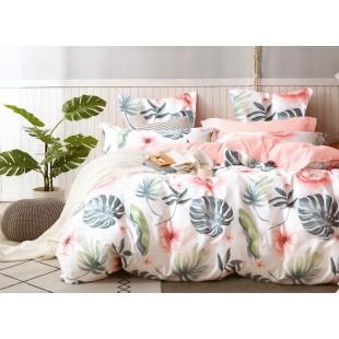 Bielo-ružová posteľná obliečka zo saténovej bavlny s rastlinným motívom