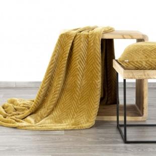 Horčicová mäkká deka so vzorom