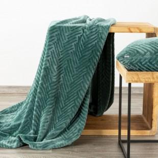 Tyrkysová mäkká deka so vzorom