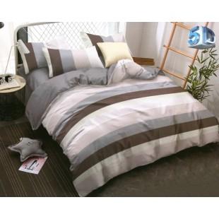 Sivo-hnedá prúžkovaná posteľná obliečka z mikrovlákna