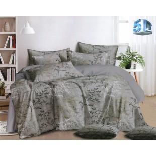 Sivá posteľná obliečka z mikrovlákna s rastlinným motívom