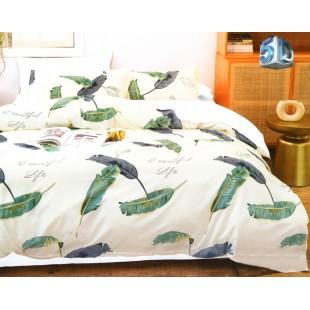 Krémová posteľná obliečka z mikrovlákna s pierkami