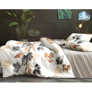 Béžová posteľná obliečka z mikrovlákna s rastlinným motívom