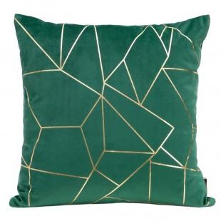 Zelená zamatová obliečka na dekoračný vankúš so zlatým vzorom
