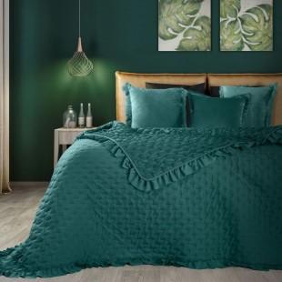 Tyrkysový dekoračný prehoz na posteľ