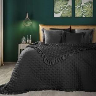 Čierny dekoračný prehoz na posteľ