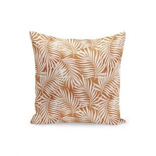 Svetlohnedá obliečka na vankúšik s bielymi palmovými listami