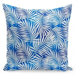 Modrá obliečka na vankúšik s bielymi palmovými listami