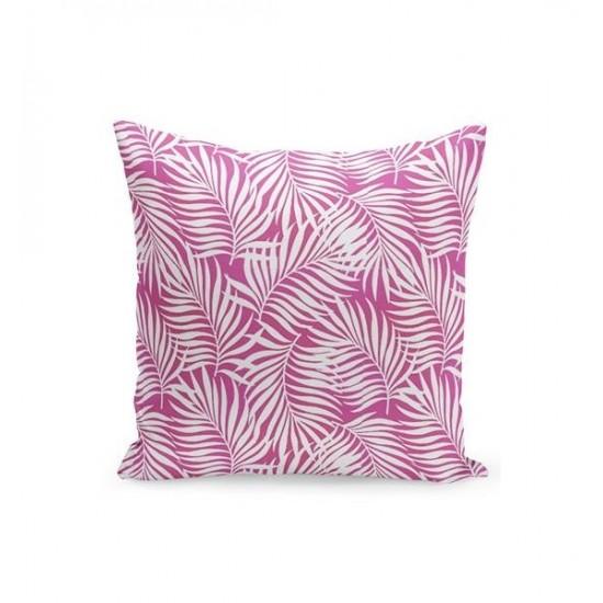 Ružová obliečka na vankúšik s bielymi palmovými listami
