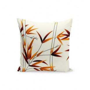 Krémovo oranžovo béžová obliečka na vankúš s motívom bambusu